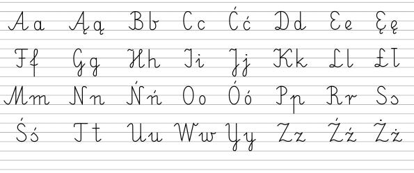 Польський алфавіт прописом